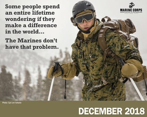 Sgt. Levi Shultz, presently pulling duty at Recruiting Station Des Moines, Iowa, made the Marine Corps Association 2018 calendar with his photo of cold weather training.