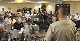 Col. Sean Gibson, Deputy Director, Office of Marine Corps Communications, HQMC speaks to Marines and CCs  at the Annual USMCCCA conference held in Oceanside, CA in 2014.