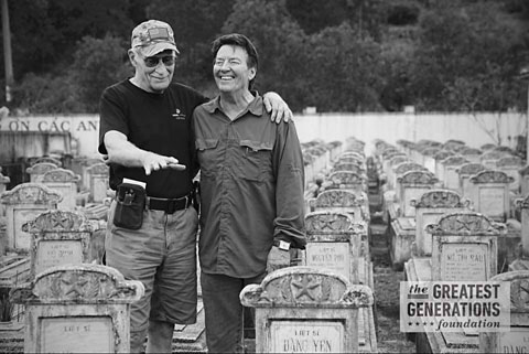 Dale Dye and Mike Stokey at RVN cemetery. Photo by John Riedy