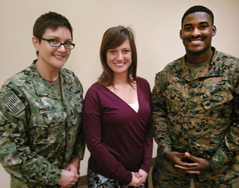 "Navy Senior Chief Laura Penuelas of 3rd Fleet, Twentynine Palms deputy PAO Lauren Kurkimilis and I MEF's Sgt. Paris Caper took advantage of the opportunity to ""talk shop"" at the MEF-hosted public affairs summit."