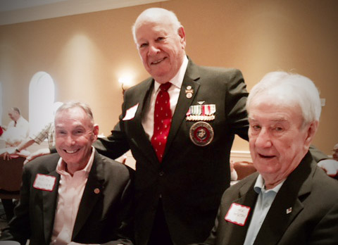 Three key members of the USMCCCA Combat Correspondents Association living in the Orlando, FL area celebrated the 242nd Birthday of the Marine Corps attending an SOS Breakfast sponsored by the Central Florida Chapter, 1st Marine Division Association. From left: Keith Oliver, National President, Bob Jordan, and Jack Paxton, National Executive Director. The guest speaker was retired BrigGen. Tom Draude, who, prior to his Marine retirement several years ago was Director of Information. In addition to one of the best speeches any of us had heard, his parting words to me: